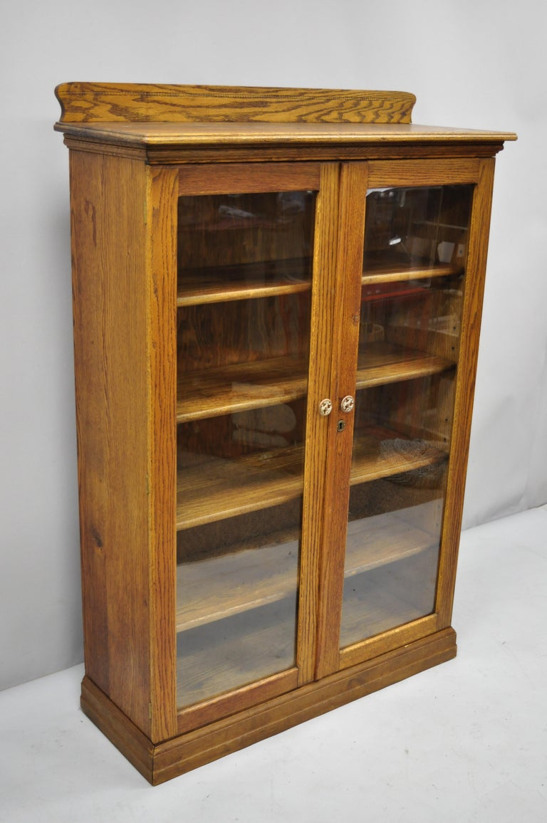 Antique Victorian Golden Tiger Oak Glass 2 Door Bookcase China Cabinet