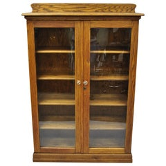 Antique Victorian Golden Tiger Oak Glass 2-Door Bookcase China Cabinet