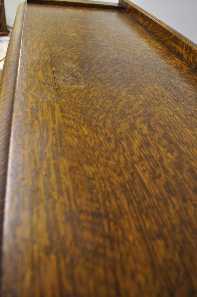Antique Victorian Golden Tiger Oak Glass Double Door China