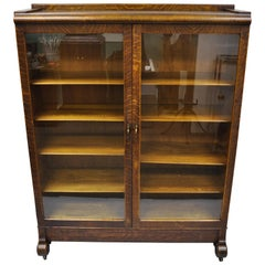 Antique Victorian Golden Tiger Oak Glass Double Door China Cabinet Bookcase