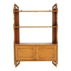 Antique Victorian Gothic Oak Hanging Wall Cabinet, Scotland, 1900