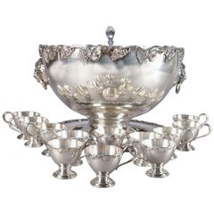 Antique Victorian Grape & Leaf Silverplate Punch Bowl and Cup Set by Oneida