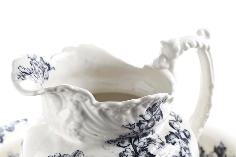 Antique Victorian grey and white jug and bowl having a lovely floral grey pattern with fantastic shaped decoration. Perfect condition. Measures: 16