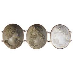 Antique Victorian Greek God and Goddess Lava Cameo Bracelet in Gold, C1880