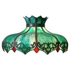 Antique Victorian Green Slag Glass Swag Light Chandelier Lamp Shade