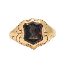 Antique Victorian Griffin Intaglio Bloodstone Signet Ring