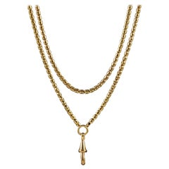 Antique Victorian Guard Chain 18 Carat Gold on Silver Link Necklace, circa 1880