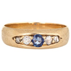 Antique Victorian Gypsy Band Diamond Sapphire 14 Karat Yellow Gold Vintage Ring
