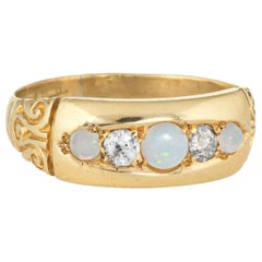 Antique Victorian Gypsy Ring Opal Diamond 18 Karat Gold Vintage Fine Jewelry