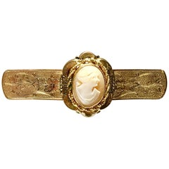 Antique Victorian Hand-Carved Cameo Shell Gold Gilt Brooch