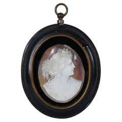Antique Victorian Hand Carved Silhouette Cameo Shell Oval Wall Plaque