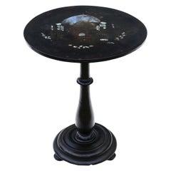 Antique Victorian Hand Decorated Papier Mache Tea Supper Wine Table Tilt Top