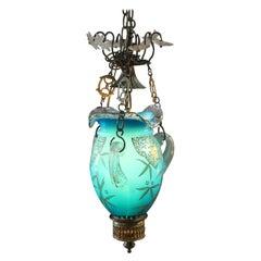 Antique Victorian Hand Gilt Art Glass Pendant Light, circa 1890