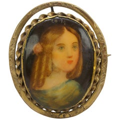 Antique Victorian Hand Painted Porcelain Cameo Lady Brooch Pin Portrait
