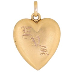 Antique Victorian Heart Locket 14 Karat Gold Vintage Jewelry Picture Pendant