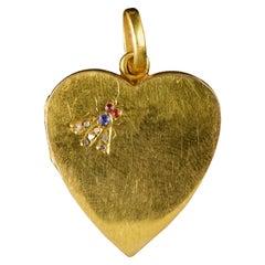 Antique Victorian Heart Locket 18 Carat Gold Diamond Sapphire Ruby, circa 1880
