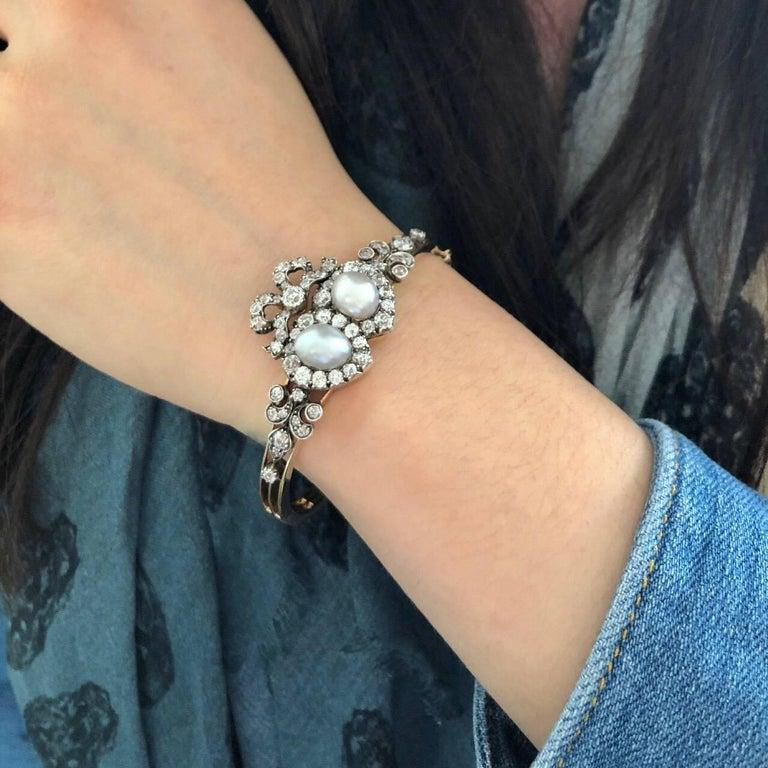 Old Mine Cut Antique Victorian Heart-Motif Natural Pearl and Diamond Bangle Bracelet For Sale