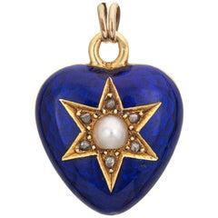 Antique Victorian Heart Pendant Guilloche Enamel Diamond Pearl 18k Gold Jewelry