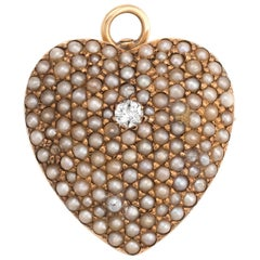 Antique Victorian Heart Pendant Pave Seed Pearls Diamond 14 Karat Gold Vintage