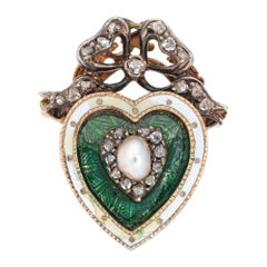Antique Victorian Heart Ring Pearl Diamond Guilloche Enamel 15k Gold Silver Bow