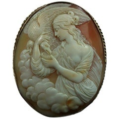 Antique Victorian Hebe Feeding the Eagle of Zeus Shell Cameo Brooch