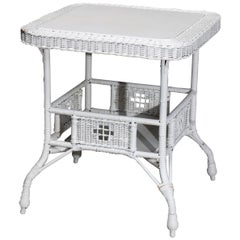 Antique Victorian Heywood Wakefield 'attr.' Wicker Center Table, Circa 1890