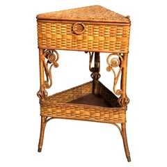 Antique Victorian Heywood Wakefield Wicker Corner Sewing Stand, circa 1890