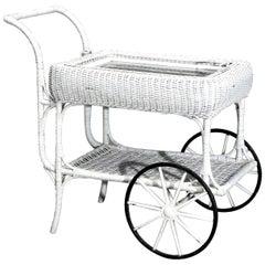 Antique Victorian Heywood Wakefield Wicker Serving Tea Cart, Circa 1890