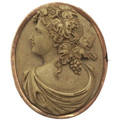 Antique Victorian High Relief Lava Cameo Brooch with a Gold Filled Setting