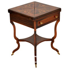 Antique Victorian Inlaid Envelope Card Table