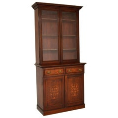 Antique Victorian Inlaid Mahogany 2 Section Bookcase