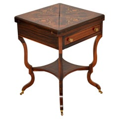 Antique Victorian Inlaid Rosewood Envelope Card Table