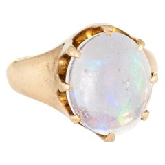 Antique Victorian Jelly Opal Ring 10 Karat Yellow Gold Vintage Fine Jewelry