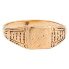 Antique Victorian JR Wood & Sons 10 Karat Yellow Gold Signet Ring Vintage