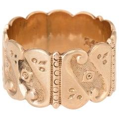 Antique Victorian JR Wood & Sons Wide Wedding Band Ring 14 Karat Rose Gold