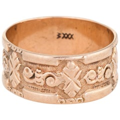 Antique Victorian JR Wood & Sons Wide Wedding Band Ring 10 Karat Rose Gold