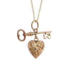 "Antique Victorian ""Key to My Heart"" Gold Pendant Necklace"