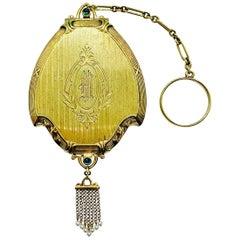Antique Victorian Ladies Compact Mirror 14 Karat Gold Pearl & Cabochon Sapphire