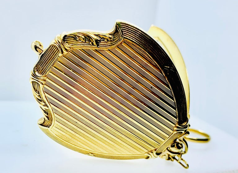 Antique Victorian Ladies Compact Mirror 14 Karat Gold Pearl & Cabochon Sapphire For Sale 6