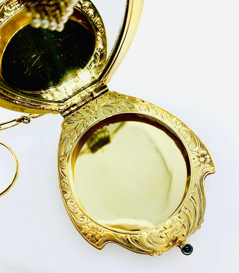 Antique Victorian Ladies Compact Mirror 14 Karat Gold Pearl & Cabochon Sapphire For Sale 7