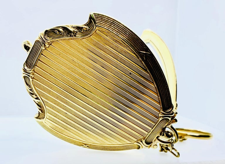 Antique Victorian Ladies Compact Mirror 14 Karat Gold Pearl & Cabochon Sapphire For Sale 10