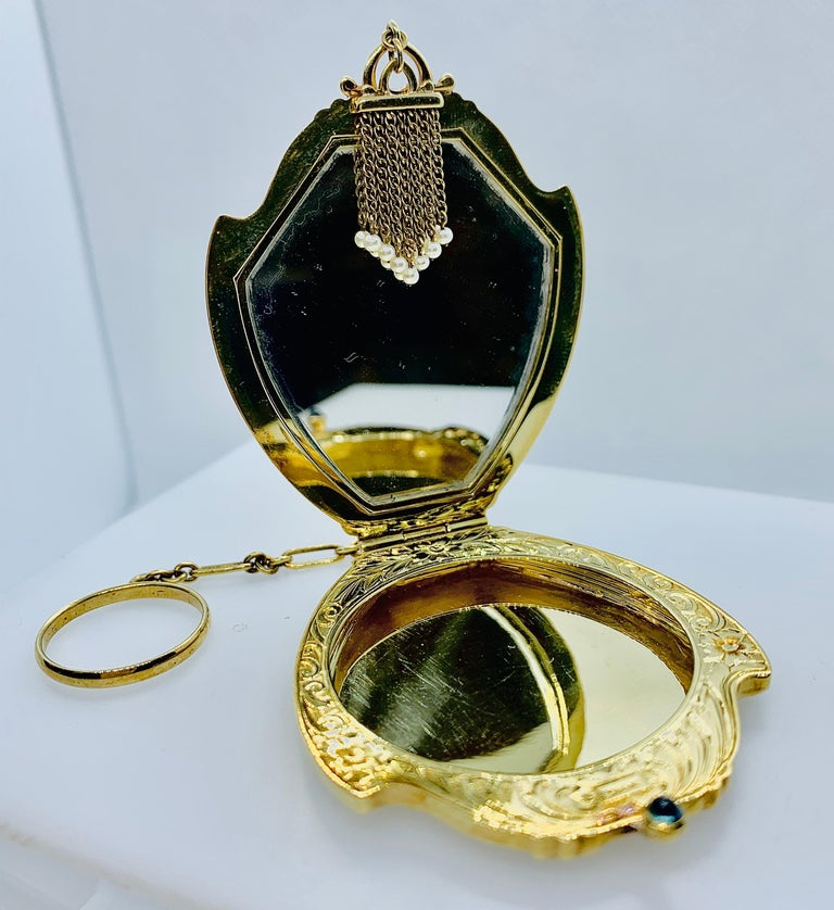 Antique Victorian Ladies Compact Mirror 14 Karat Gold Pearl & Cabochon Sapphire For Sale 5
