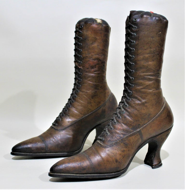 Early Victorian Antique Victorian Ladies Leather Piedmont Shoes Boots Mercantile Store Display  For Sale