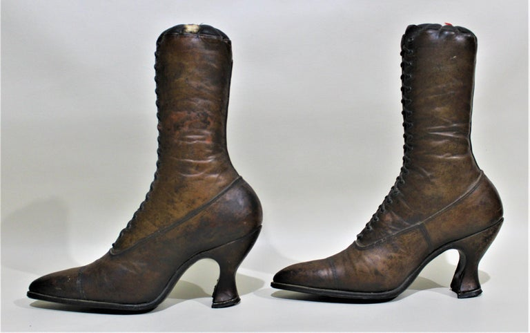 Hand-Crafted Antique Victorian Ladies Leather Piedmont Shoes Boots Mercantile Store Display  For Sale