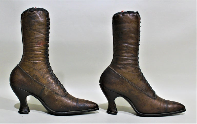 19th Century Antique Victorian Ladies Leather Piedmont Shoes Boots Mercantile Store Display  For Sale
