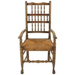 Antique Victorian Lancashire Elm Rush Seated Chair, England 1880, B2324