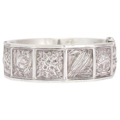"Antique Victorian ""Language of Flowers"" Silver Bangle Bracelet"