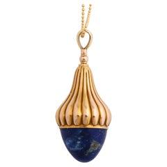 Antique Victorian Lapis Lazuli Gold Fob
