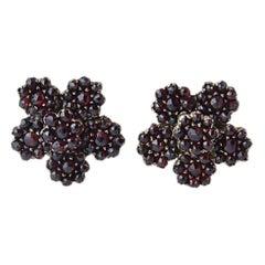 Antique Victorian Large Garnet Flower Earrings