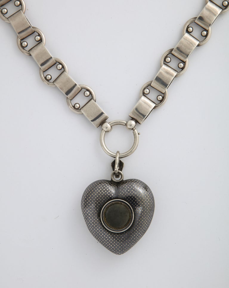 Antique Victorian Large Niello Heart Locket and Chain For Sale 5